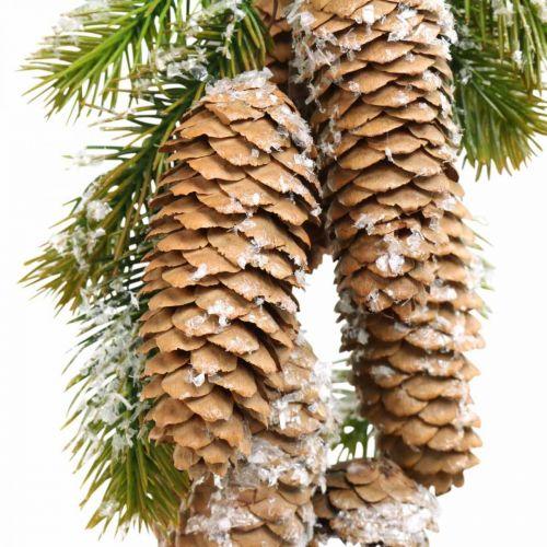 Vert sapin avec cônes, décoration hiver, branche de pin à accrocher, décoration cône, enneigé L33cm