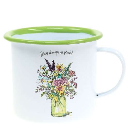 Tasse décorative pot à plantes émaillé Ø 11,5 cm H.10 cm