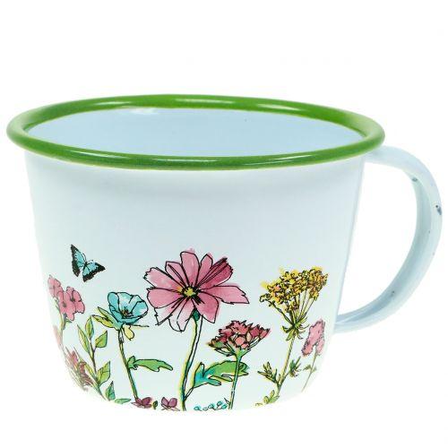 Tasse décorative pot à plantes émaillé Ø 11 cm H. 8 cm