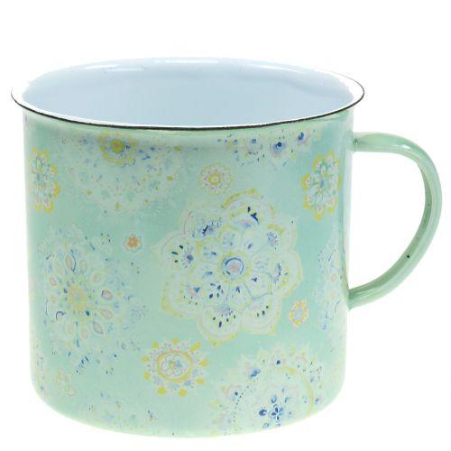 Tasse décorative pot à plantes Mandala émaillé Ø 13 cm H.12 cm