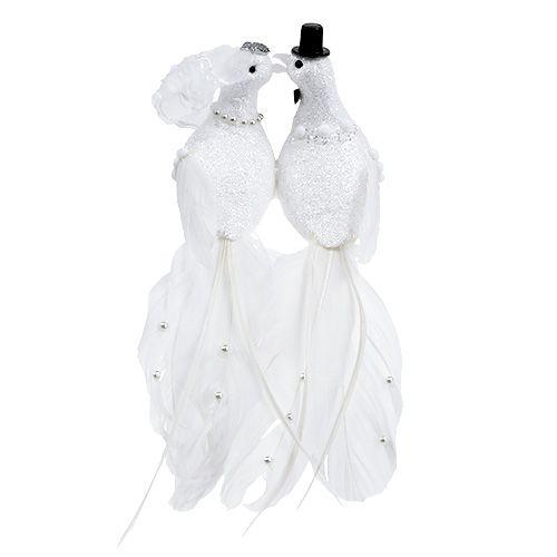Couple de colombes sur pince, blanc 22 cm