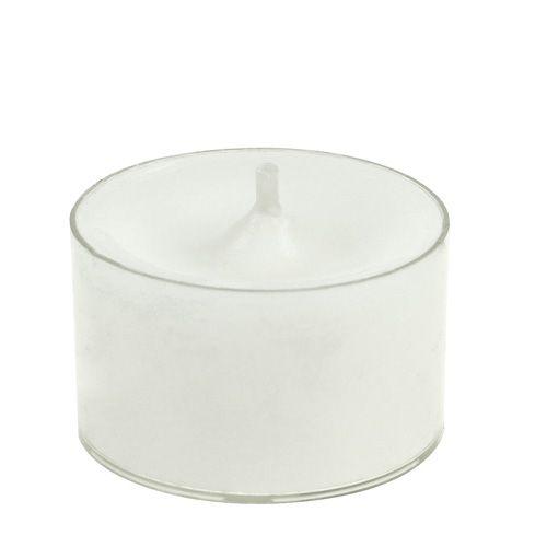 Bougies chauffe-plat blanches dans un bol en plastique 50p