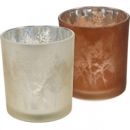 Lanterne en verre, photophore en verre avec motif feuille, décoration automne Ø8cm H9cm 2pcs