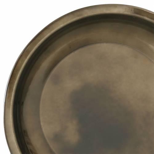 Assiette décorative en bronze métallique effet glaçure Ø23,5cm