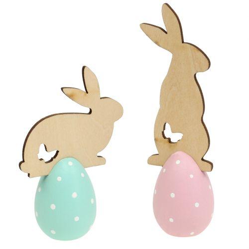 Oeuf de Pâques avec lapin 9-12 cm 2 p.