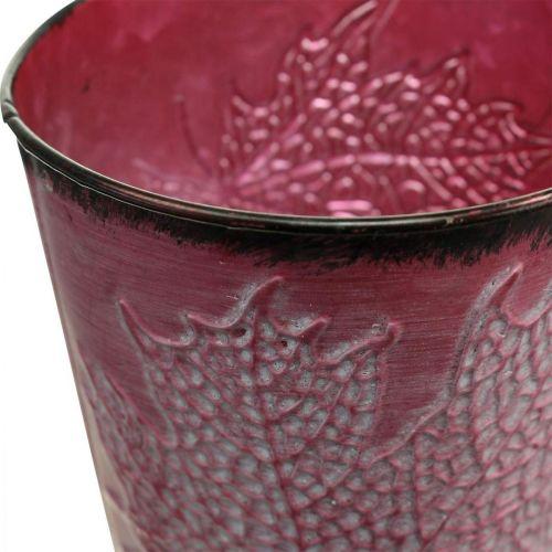 Jardinière à décor de feuilles, vase en métal, automne, cache-pot lie de vin Ø10cm H10cm