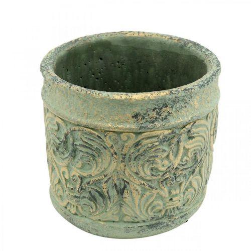 Cache-pot aspect antique vert, or Pot en béton Ø11cm H12.5cm