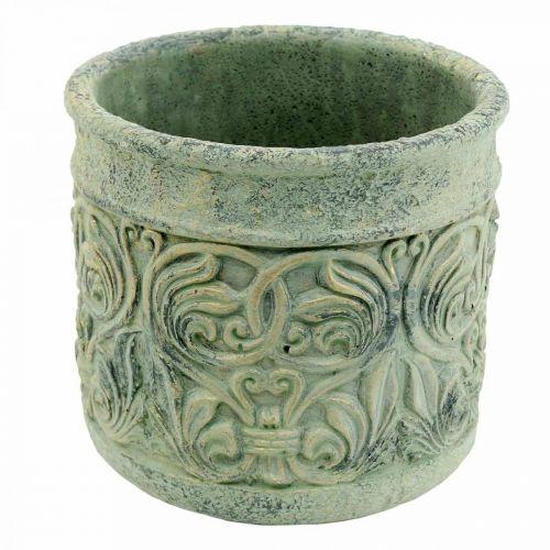 Pot de fleurs aspect antique vert, or béton Ø13,5cm H14,5cm