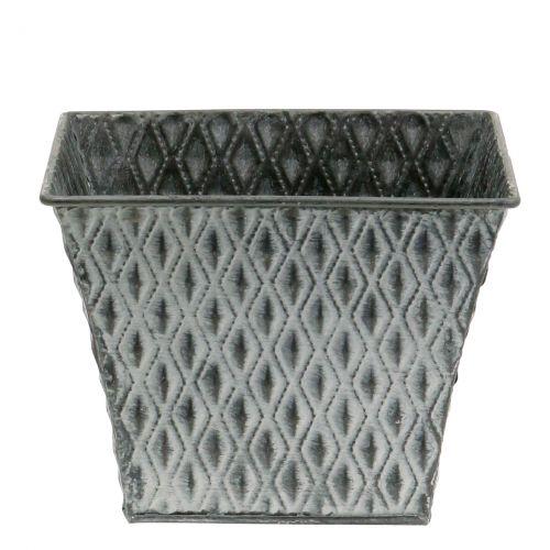 Pot en zinc avec motif de losanges H. 11,5 cm