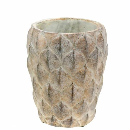 Jardinière vase en béton avec motif de feuille Ø14 cm