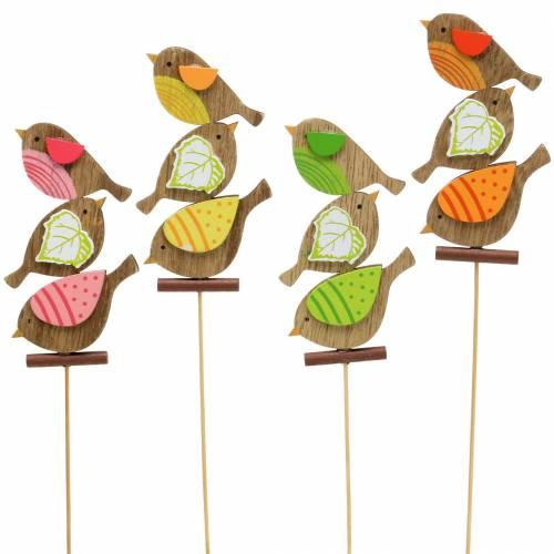 Décor de printemps oiseaux avec bâton en bois assortis H10,5cm 12pcs