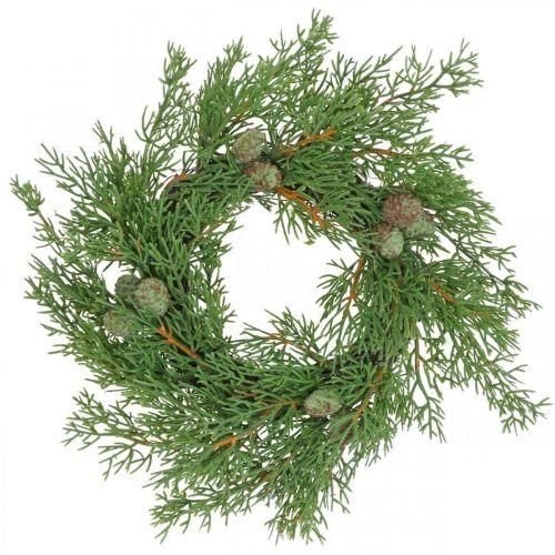 Couronne de genévrier artificielle, couronne décorative genévrier, cônes Ø25cm