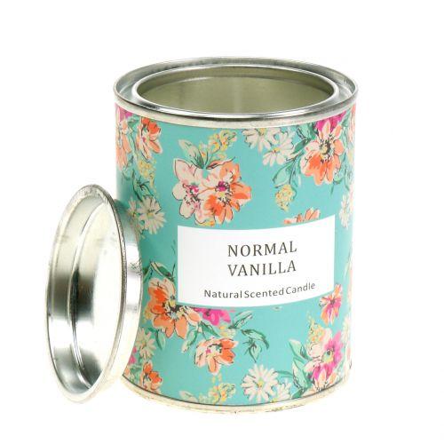 Bougie parfumée vanille en boite fleurie Ø 6,5 cm