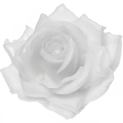 Cire rose blanche Ø10cm Fleur artificielle cirée 6pcs