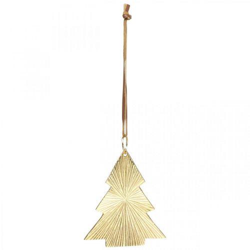 Sapin de Noël en métal doré 8x10cm à suspendre 3pcs.