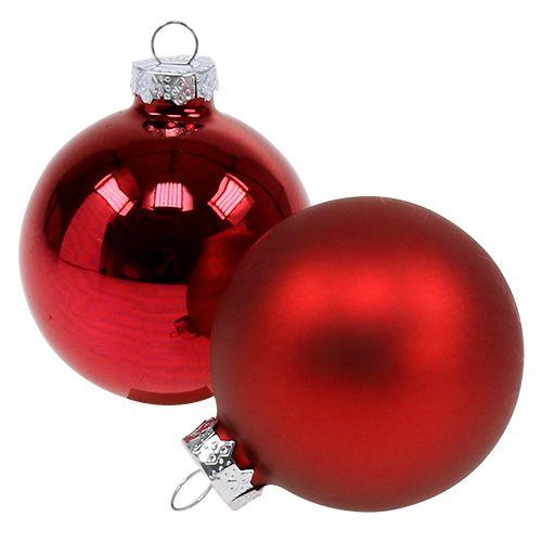 Mélange de boules de Noël en verre Ø 6 cm rouge 24 p.