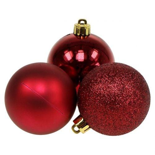 Mélange de boules de Noël rouge rubis Ø 6 cm 10 p.