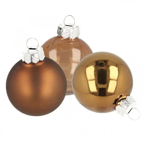 Boules de Noël, décorations de sapin mix, mini boules de sapin de Noël marron H4.5cm Ø4cm verre véritable 24pcs
