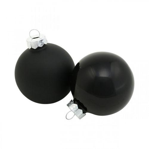 Boules de sapin de Noël, pendentifs arbre, boules de verre noir H6.5cm Ø6cm verre véritable 24pcs
