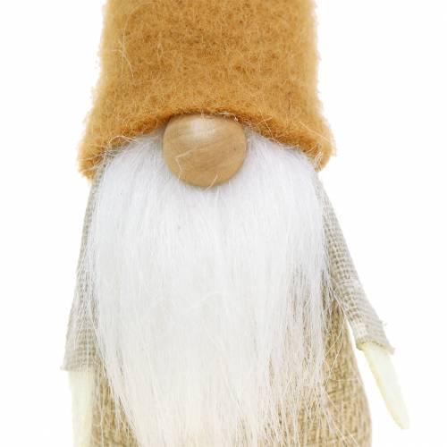 Gnome avec Barbe Brun, Blanc, Nature 16cm 2pcs