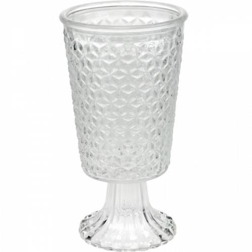 Lanterne en verre avec socle transparent décoration de table Ø10cm H18,5cm