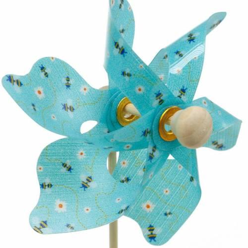Moulin à vent moulin à vent abeilles turquoise Ø8.5cm décoration été jardin 12pcs