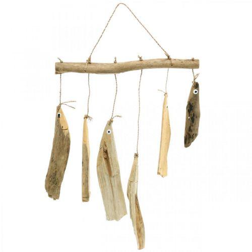 Décoration poisson maritime, carillons éoliens en bois flotté, décoration bois L50cm L30cm