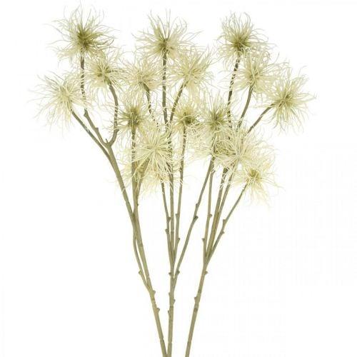 Xanthium fleur artificielle crème décoration automne 6 fleurs 80cm 3pcs