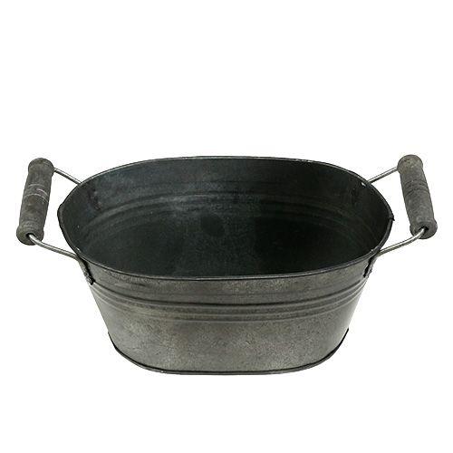 Coupe en zinc ovale antique avec poignées en bois 18 x 10 cm