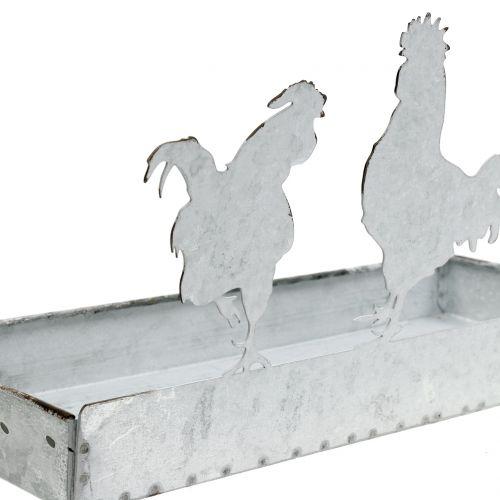 Plateau en zinc avec poules 30x12cm H15,5cm
