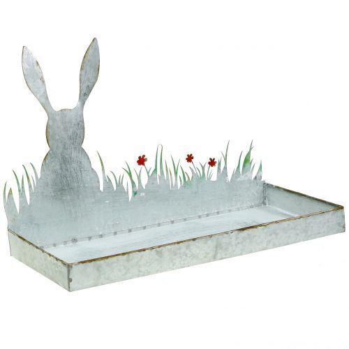 Plateau en zinc Prairie printanière avec lapin de Pâques 35x16cm H24cm