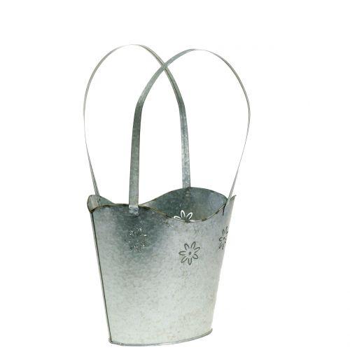 Récipient à plantes panier en zinc H. 25,5 cm