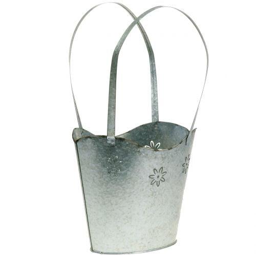 Récipient à plantes panier en zinc H. 36 cm