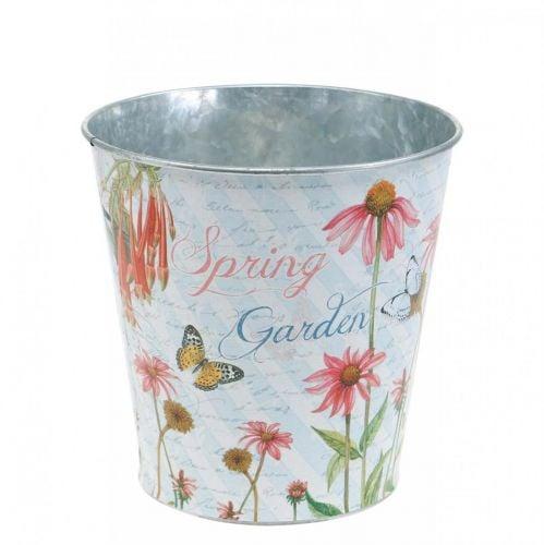 Pot de fleurs en métal Echinacea décoration printanière jardinière Ø13,5cm H11,5cm