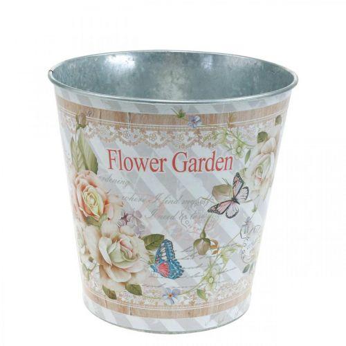 Pot de fleurs en métal roses décoration d'été jardinière Ø13,5cm H11,5cm