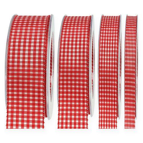 Ruban cadeau avec lisières 20m à carreaux rouges