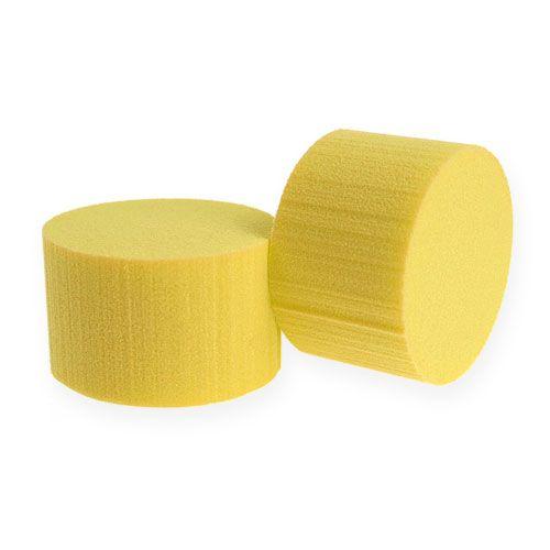 Mousse à piquer cylindre diam. 8cm jaune 6 pièces
