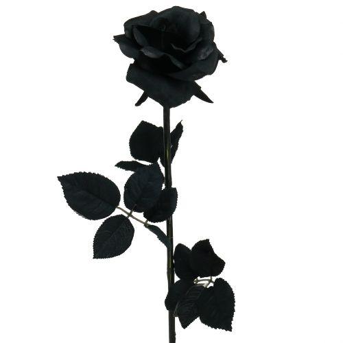 Rose noire satinée 63 cm