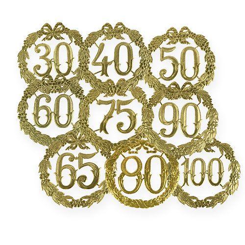 Numéros d'anniversaire dorés 24 cm