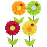 Pique décorative fleur avec coccinelle H. 24 cm 12 p.