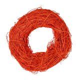 Couronne décorative orange en rotin Ø 20 cm