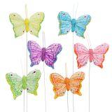 Papillon de plumes 6cm multicolore 24P