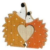 Décoration d'automne couple de hérissons avec cœur 15 - 18 cm