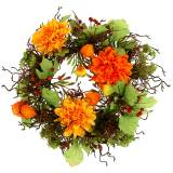 Couronne d'automne Ø 30 cm avec chrysanthèmes, orange
