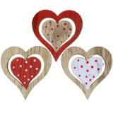 Coeur rouge, blanc, bois assorti naturel 4,5x4,5cm 24pcs
