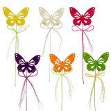 Papillons en bois sur fil triés par couleur 8cm 24P
