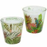 Bougie en verre motif tropical Ø 6,5 cm H. 6,5 cm 2 p.