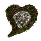 Coeur à garnir en sarments et en mousse 32 x 24 cm H. 8 cm