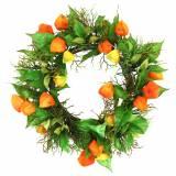 Couronne Physalis artificiel orange, vert Ø28cm décoration automne