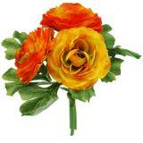 Bouquet de renoncules orange L 20 cm